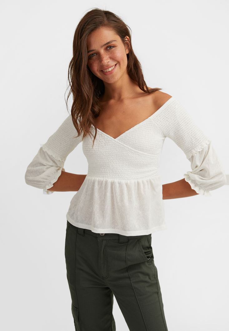 Cream Half Sleeve Crossover Blouse