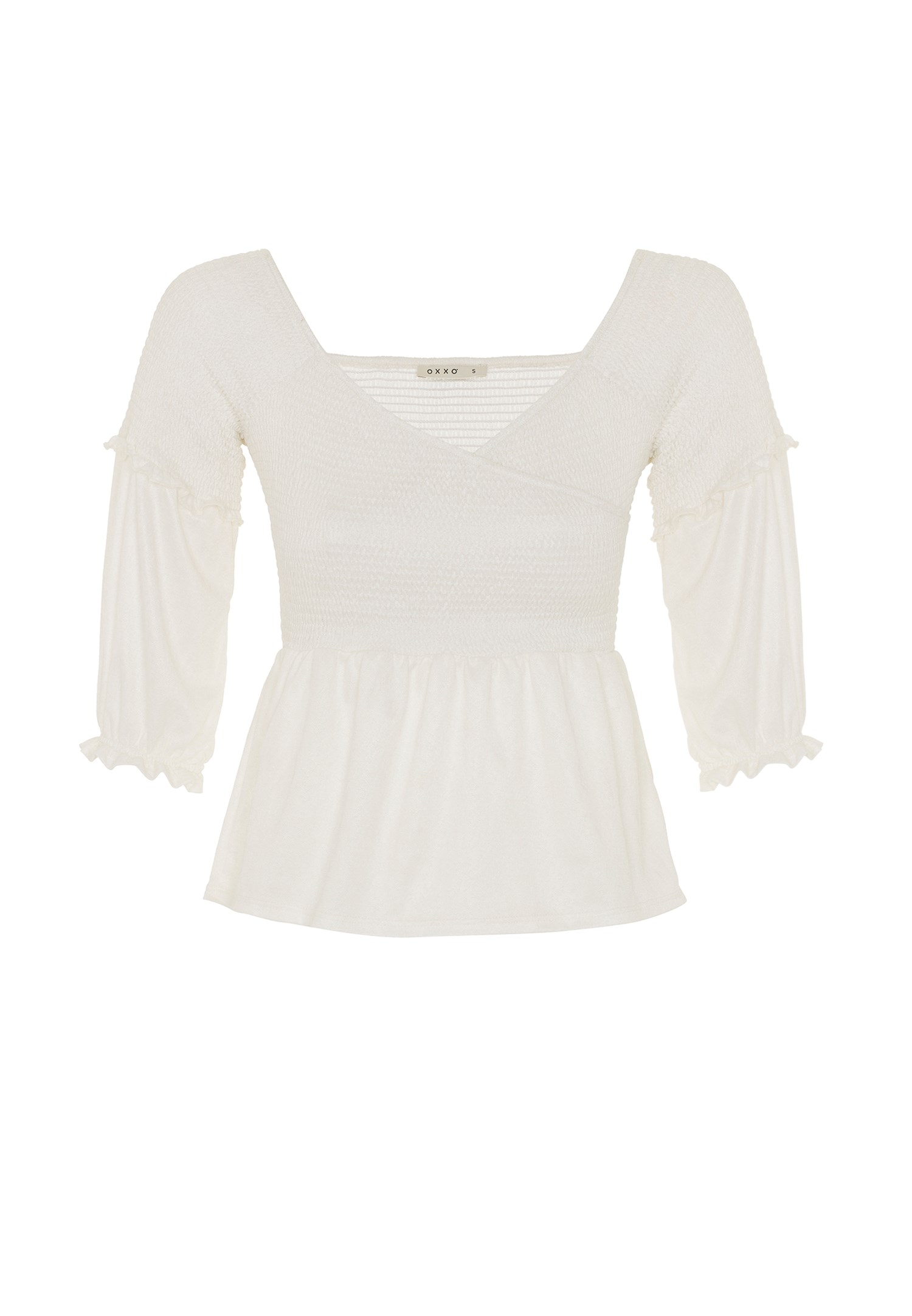 Women Cream Half Sleeve Crossover Blouse