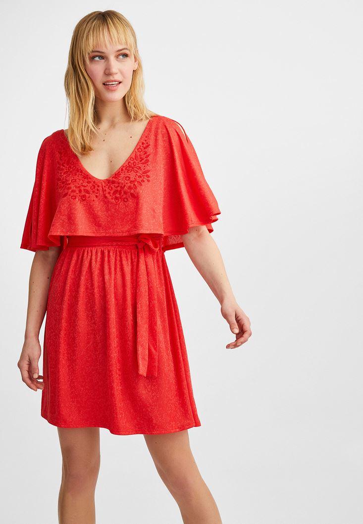 Orange Jacquard Mini Dress