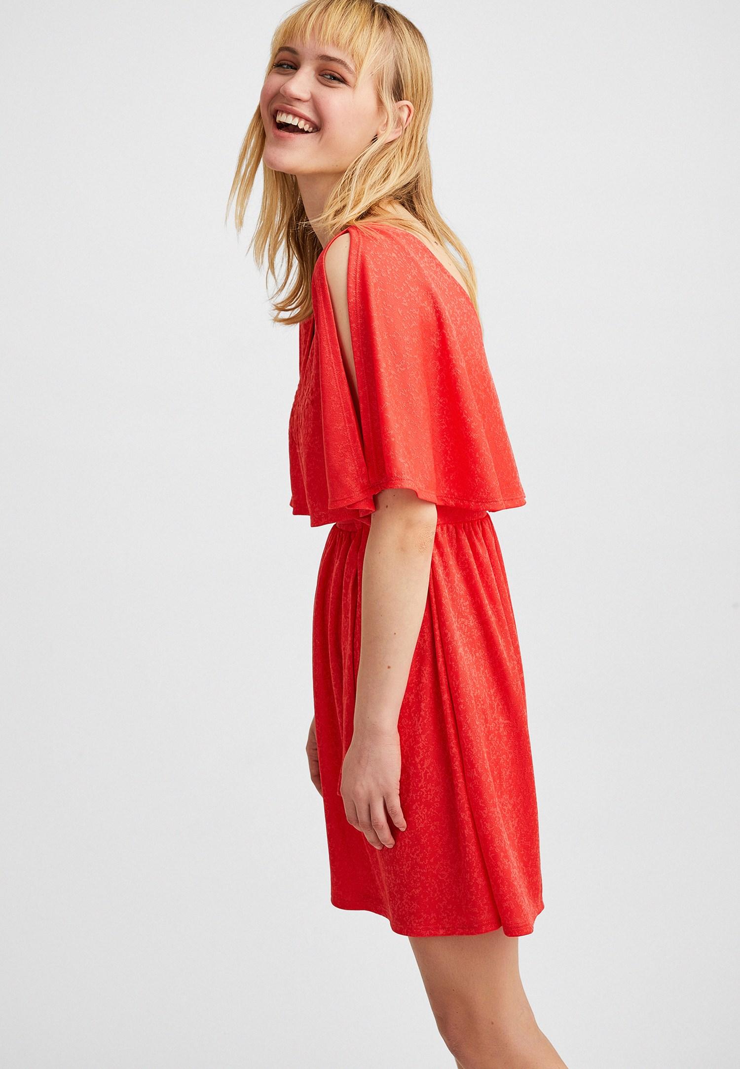 Bayan Turuncu Jakarlı Mini Elbise