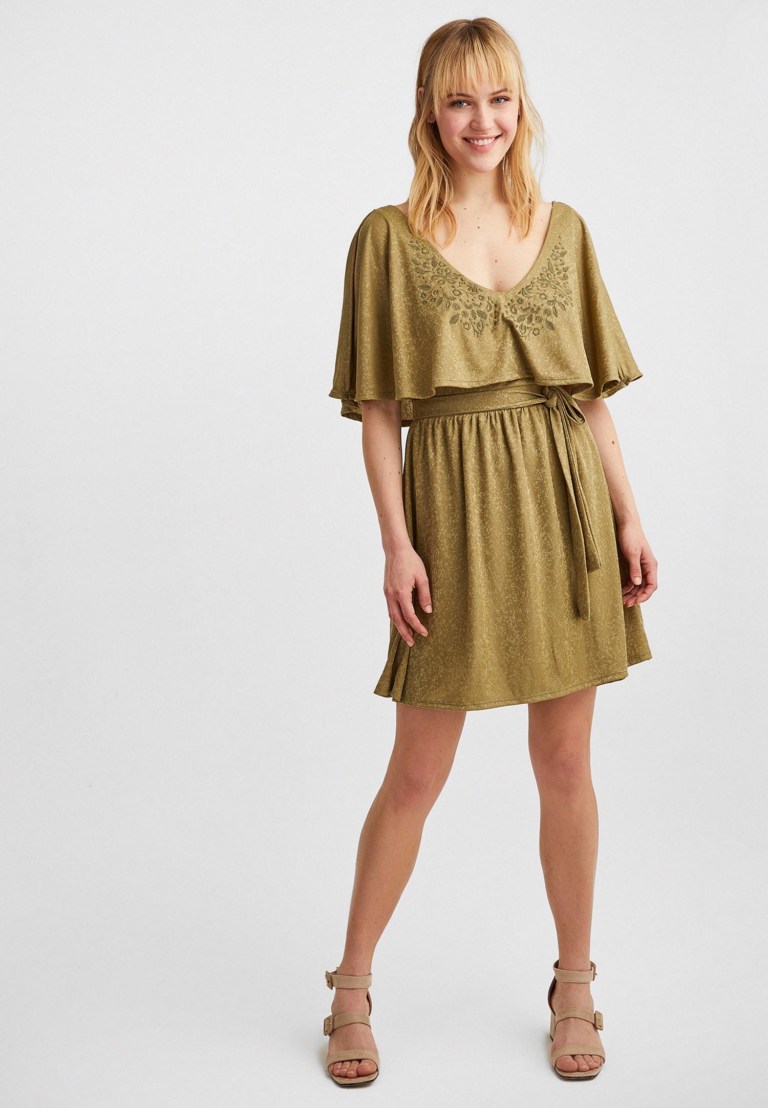 Bayan Yeşil Jakarlı Mini Elbise
