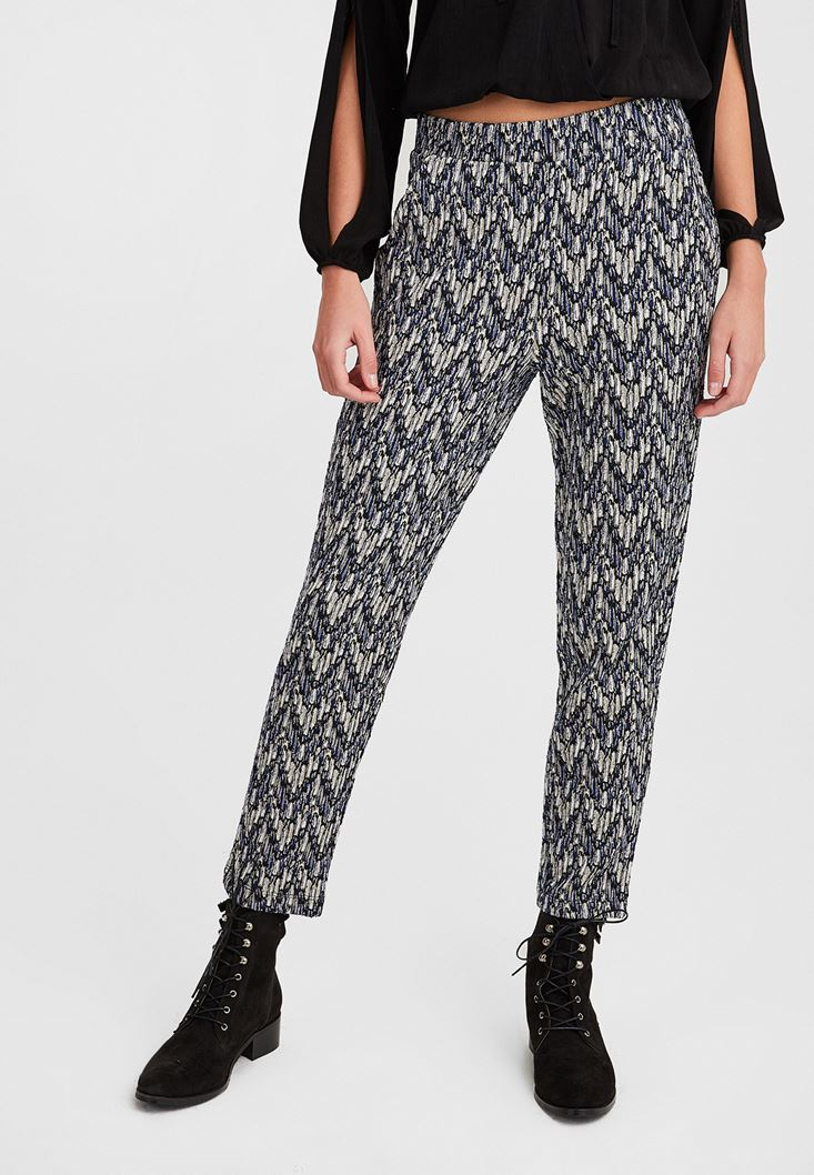 Mixed Jacquard Pants with Shimmer
