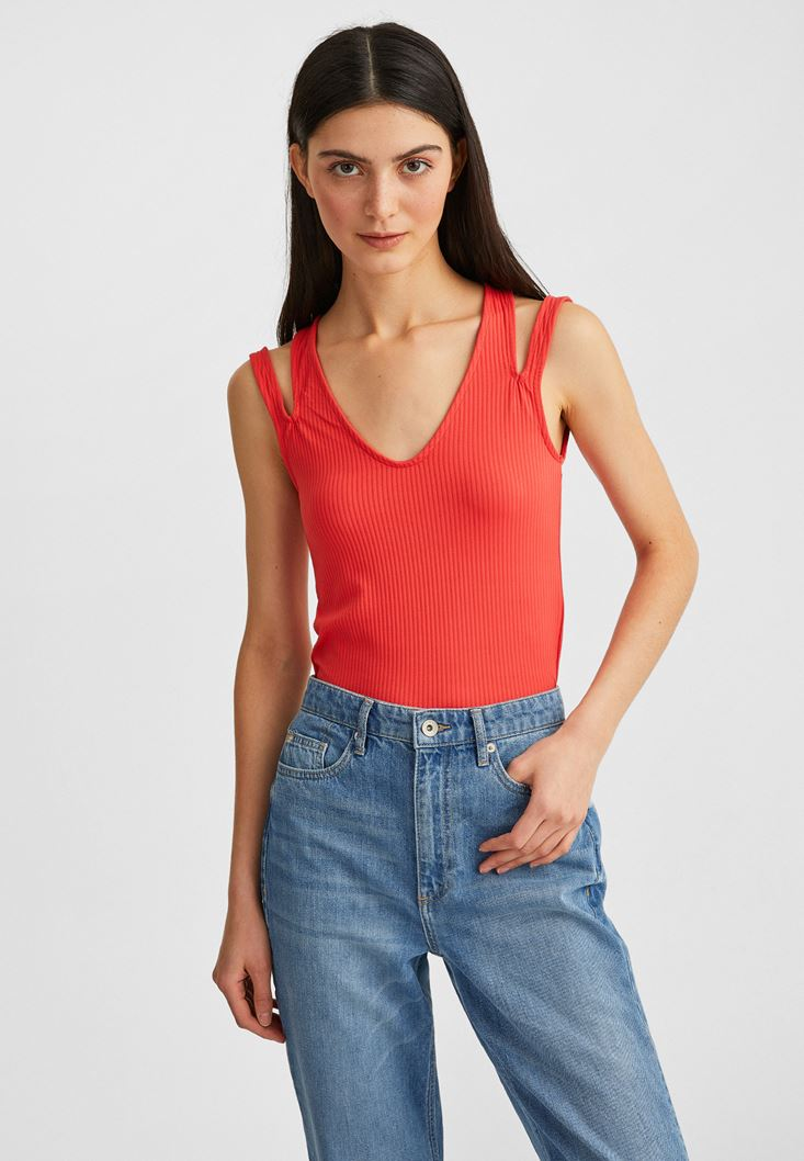 Orange Sleeveless Crop Top