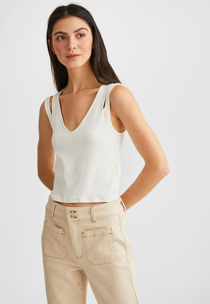 Cream Sleeveless Crop Top
