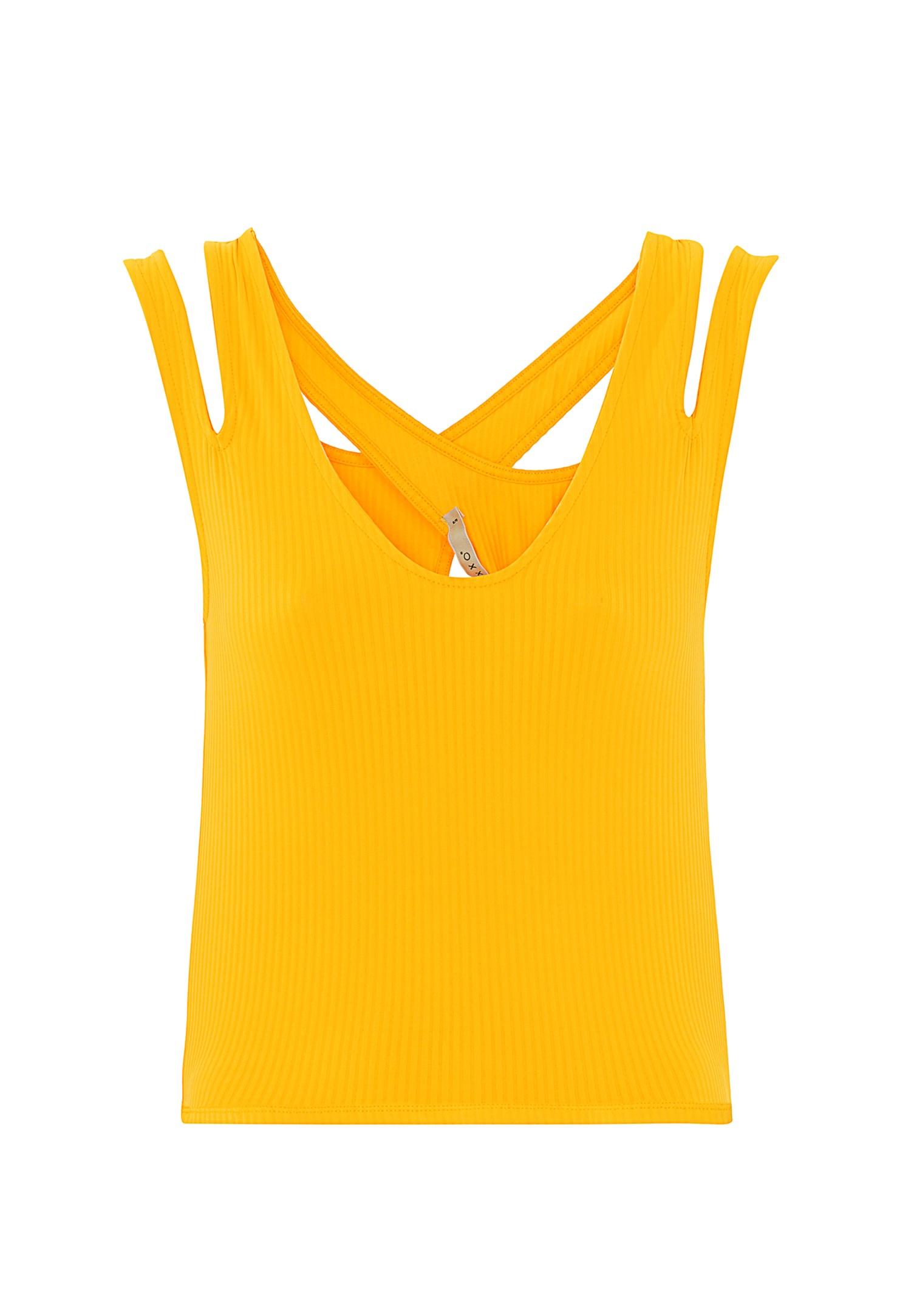 Bayan Sarı Çarpraz Askılı Crop Top