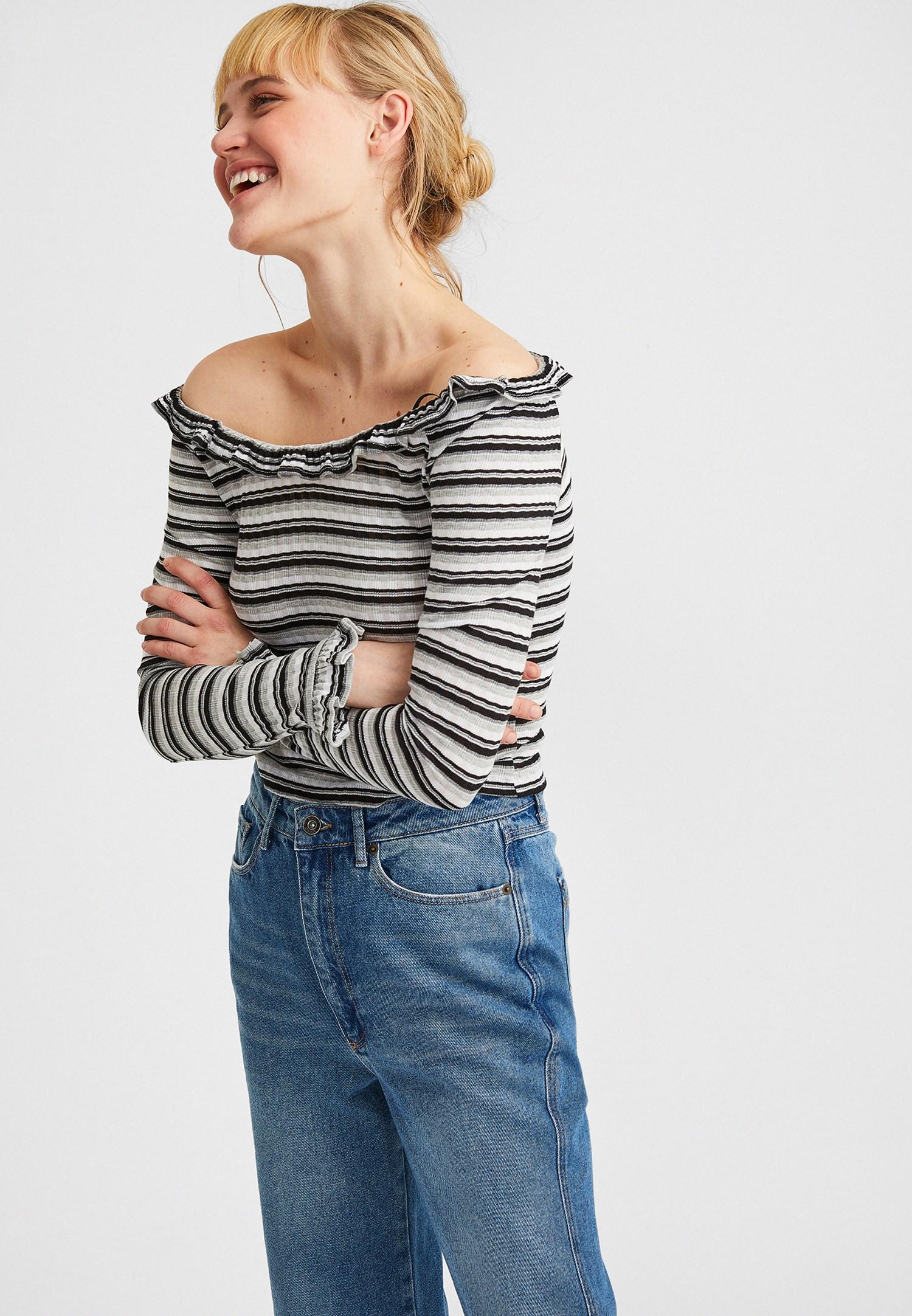 Bayan Çok Renkli Açık Omuzlu Bluz