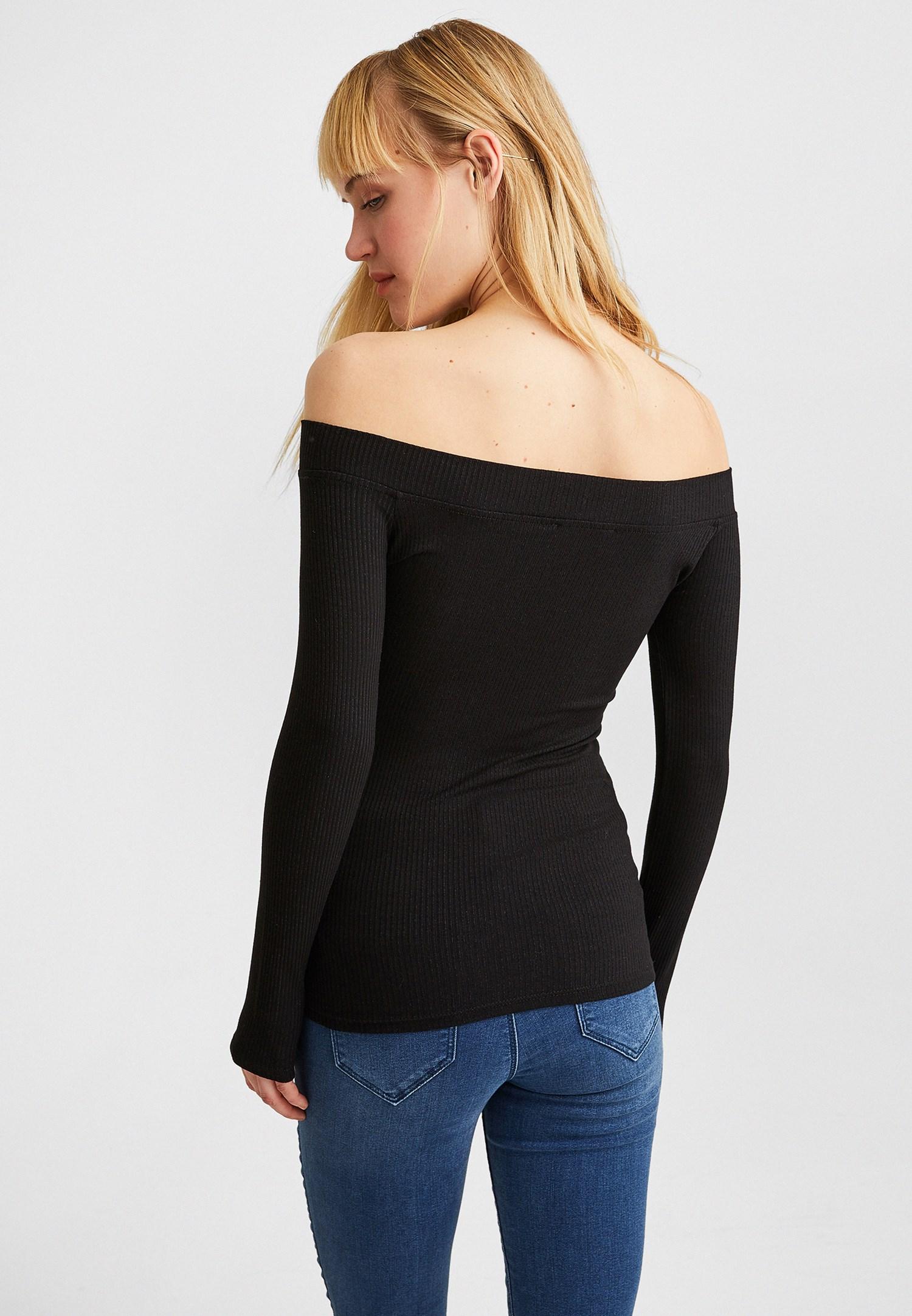 Bayan Siyah Bot Yaka Uzun Kollu Bluz