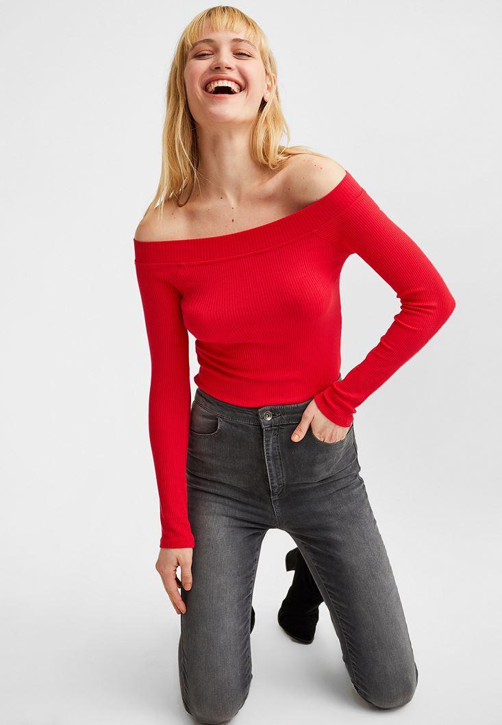 Kırmızı Bot Yaka Uzun Kollu Bluz