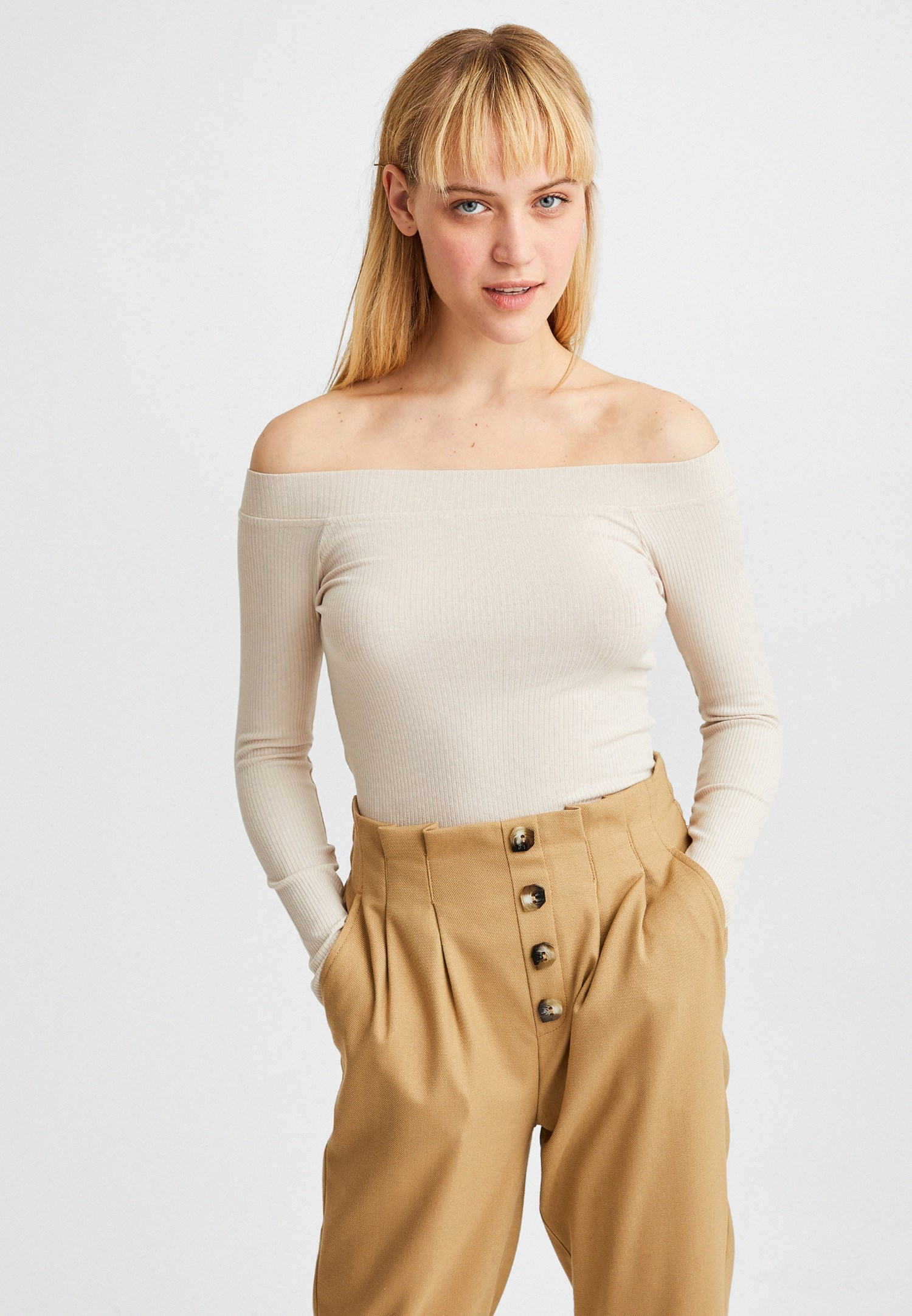 Bayan Krem Bot Yaka Uzun Kollu Bluz
