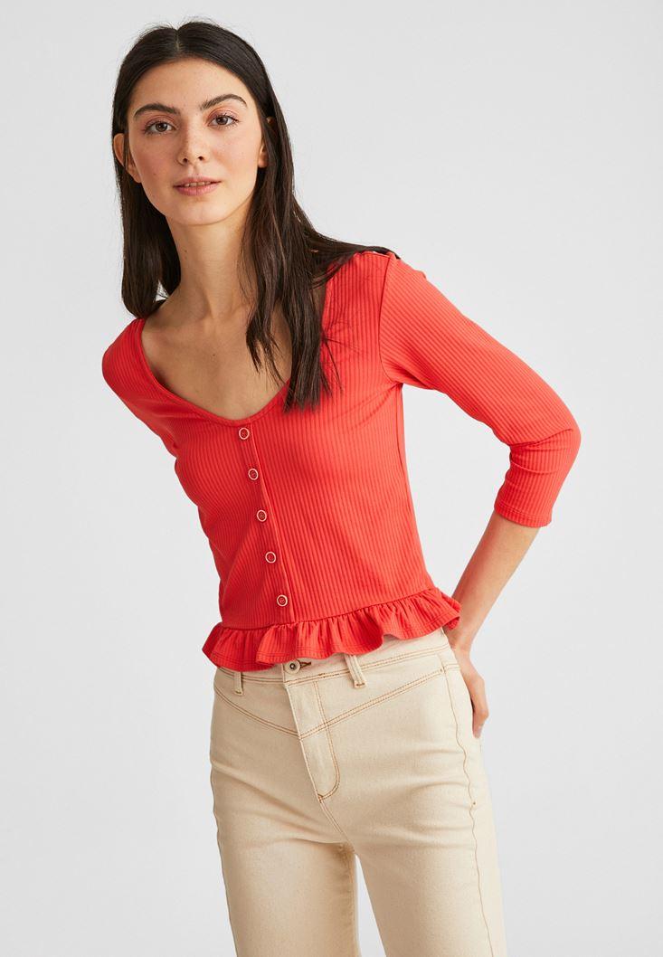 Turuncu Düğme Detaylı Fırfırlı Bluz