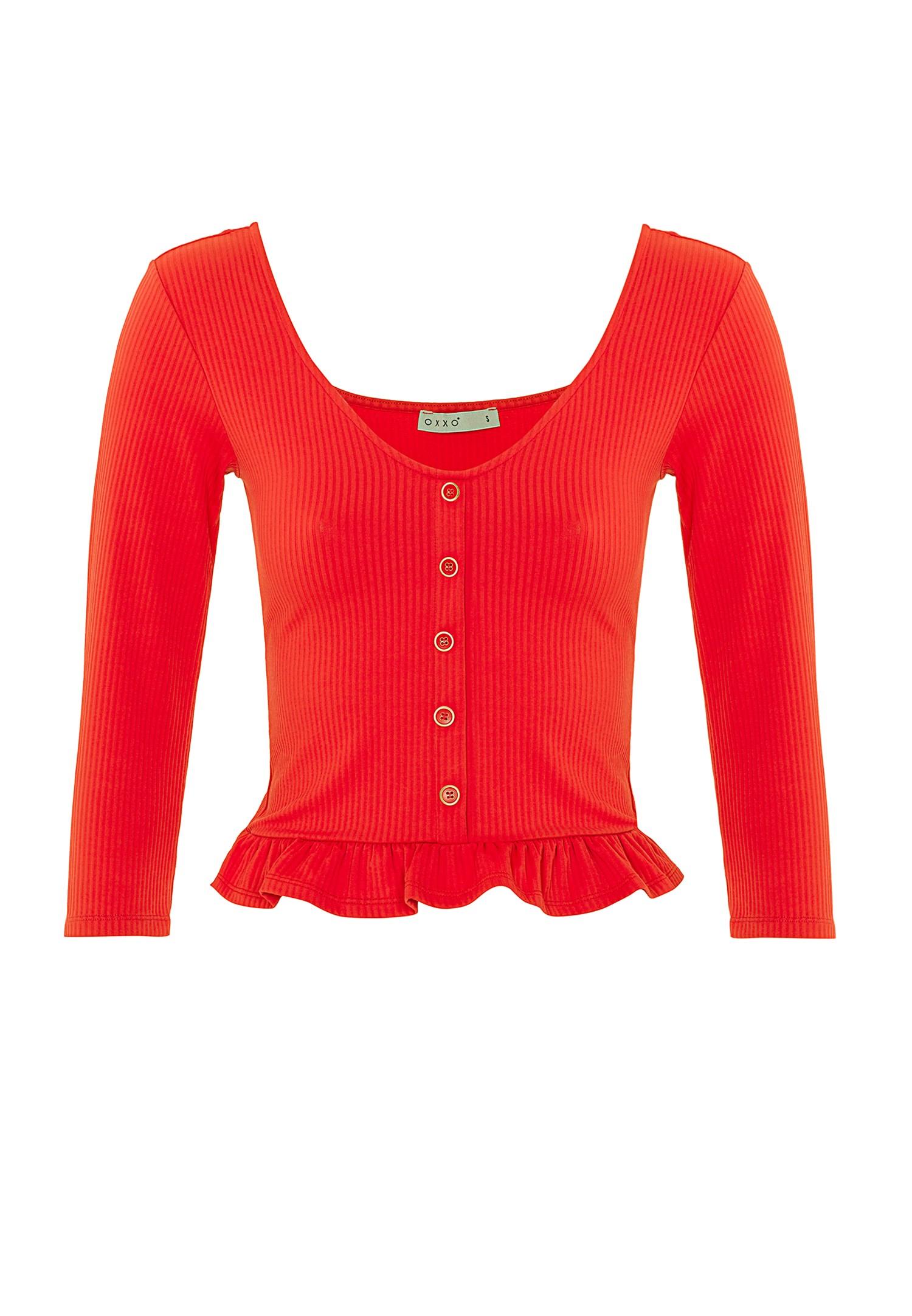 Bayan Turuncu Düğme Detaylı Fırfırlı Bluz