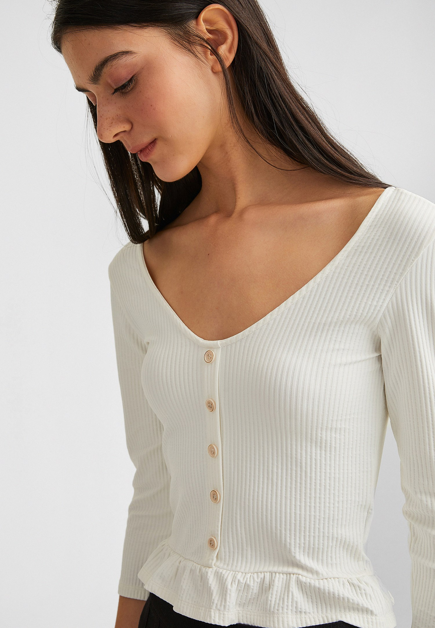 Women Cream Ruffled Blouse with Buttons