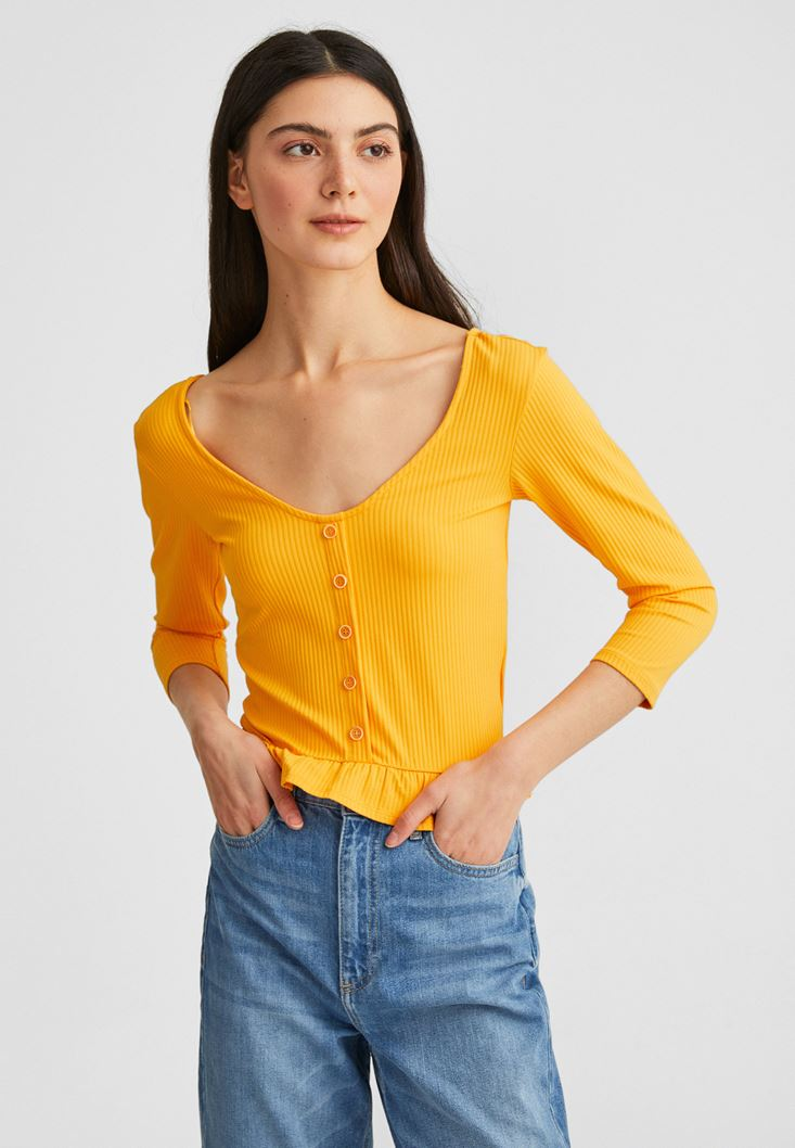 Yellow Ruffled Blouse with Buttons