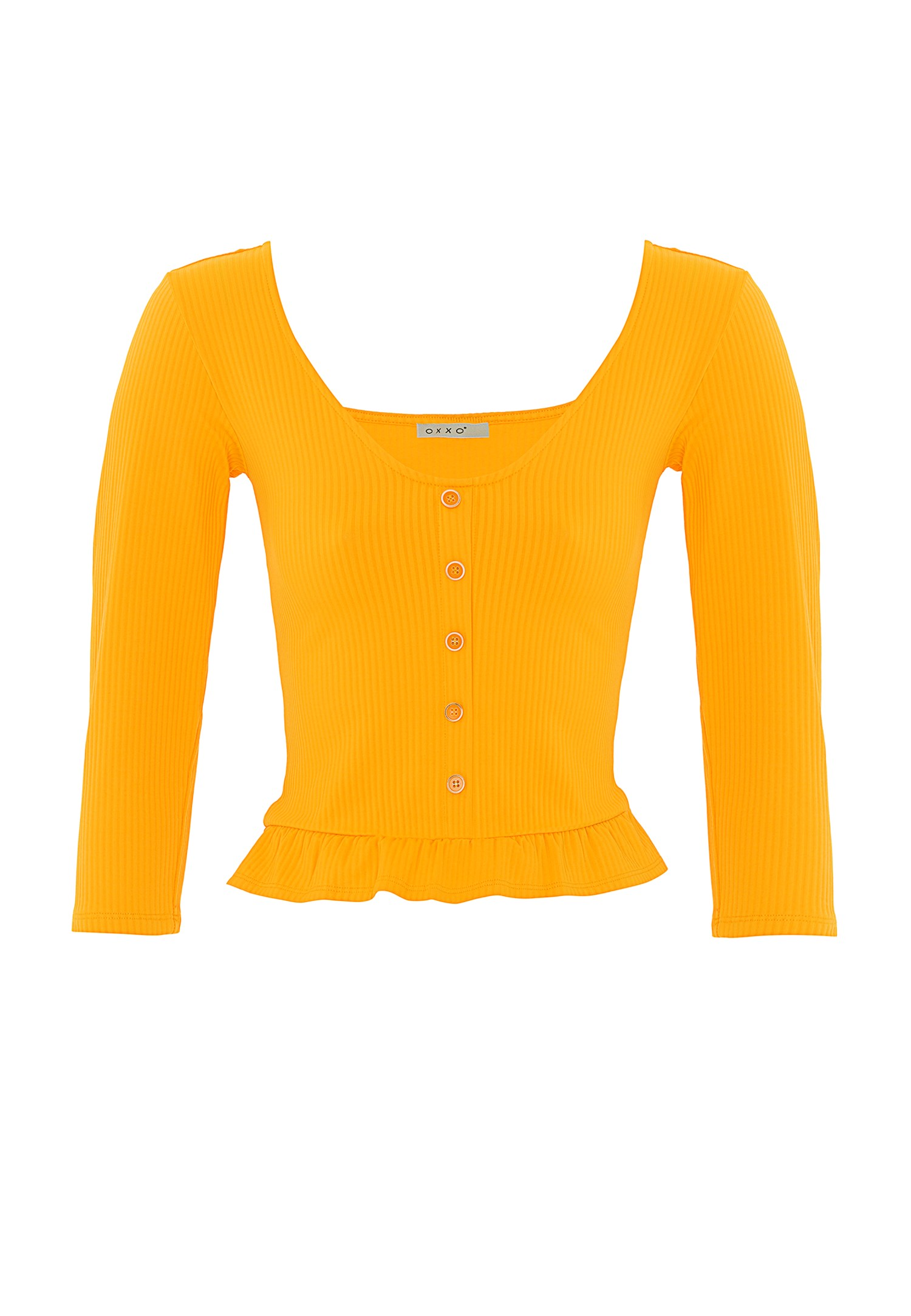 Women Orange Ruffled Blouse with Buttons