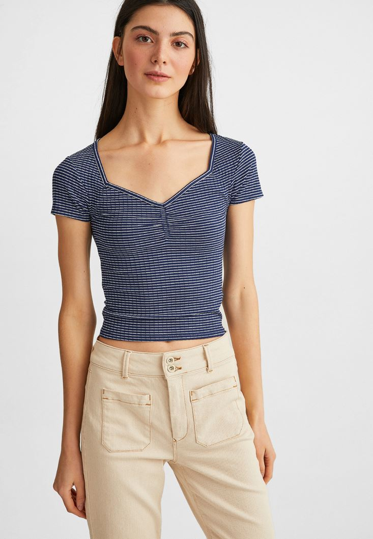 Mixed Striped T-shirt with Neck Details