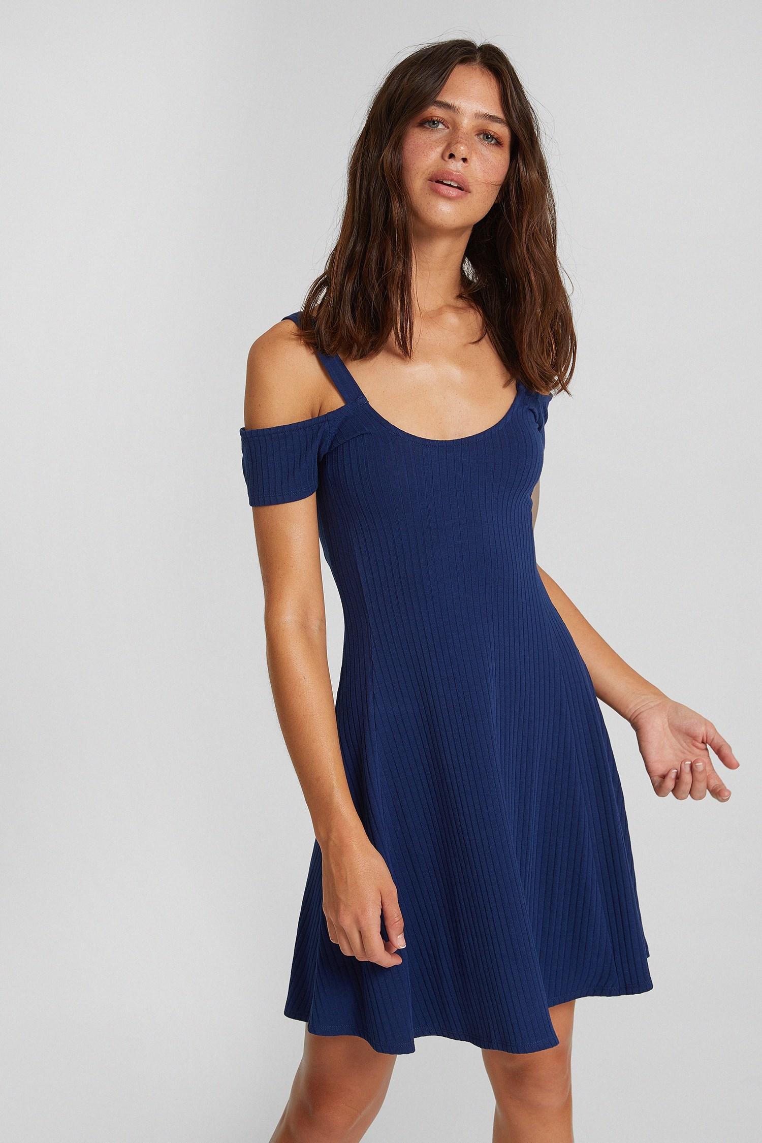 Bayan Lacivert Omuz Detaylı Elbise