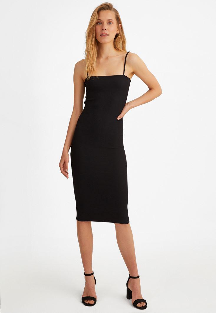Siyah İnce Askılı Midi Elbise