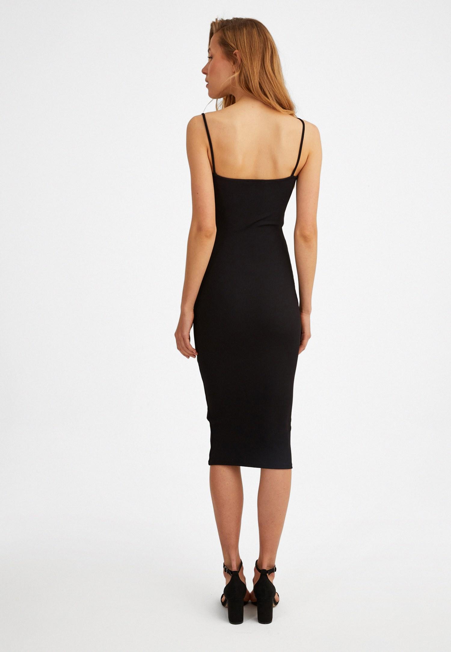 Bayan Siyah İnce Askılı Midi Elbise