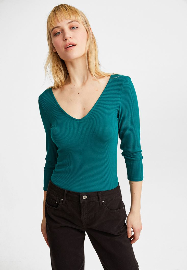 Green V-Neck Long Sleeve Blouse