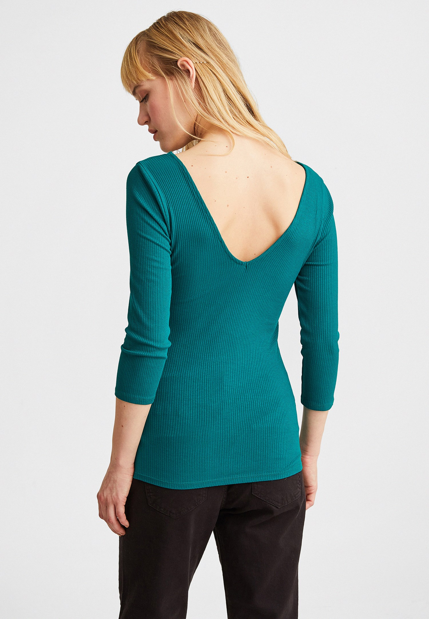 Women Green V-Neck Long Sleeve Blouse