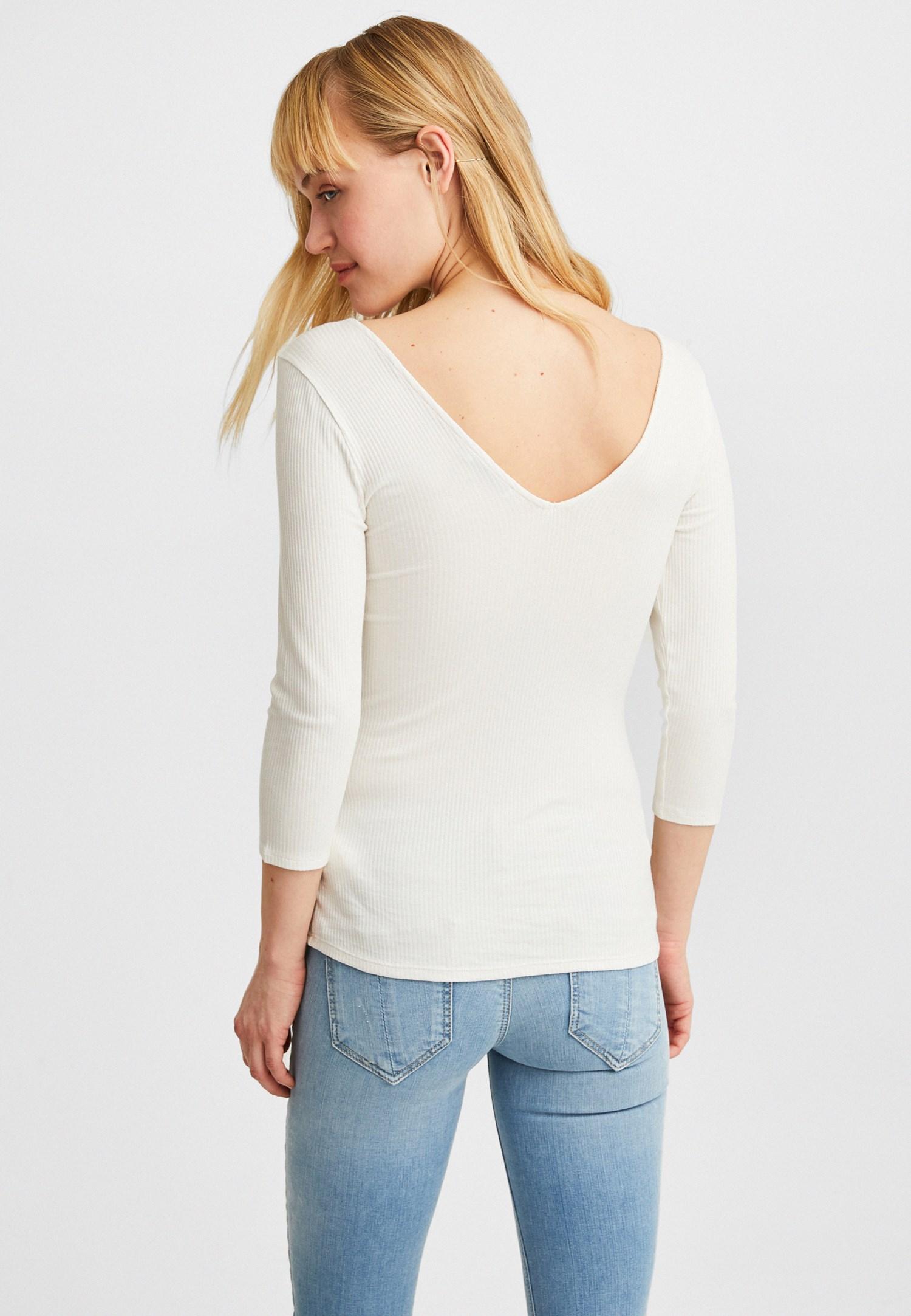 Women Cream V-Neck Long Sleeve Blouse