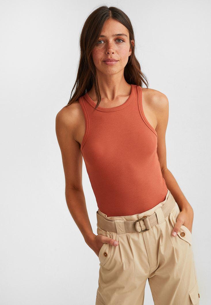 Brown Halter-Neck Top