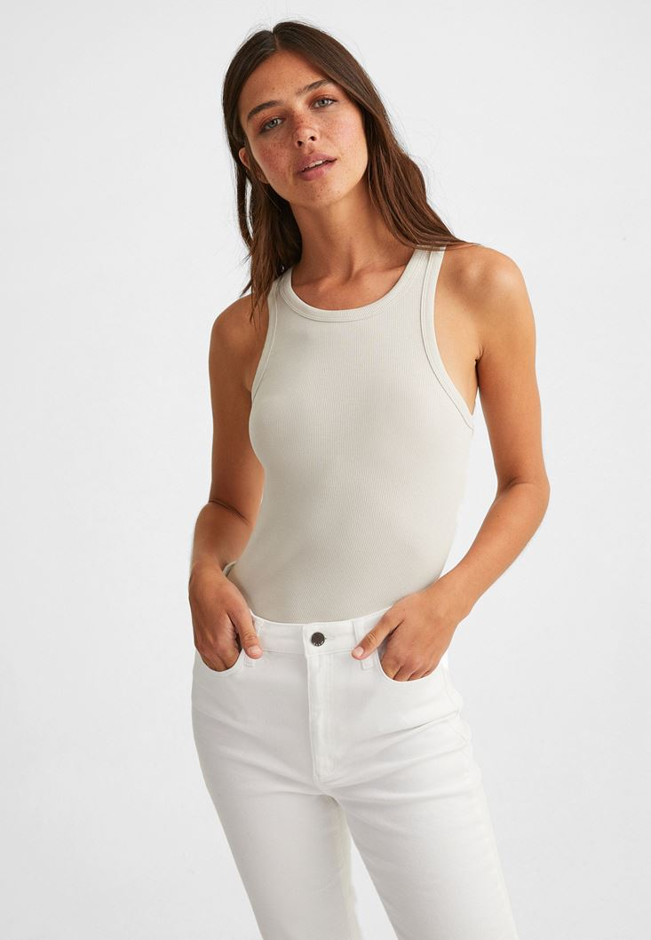 Cream Halter-Neck Top