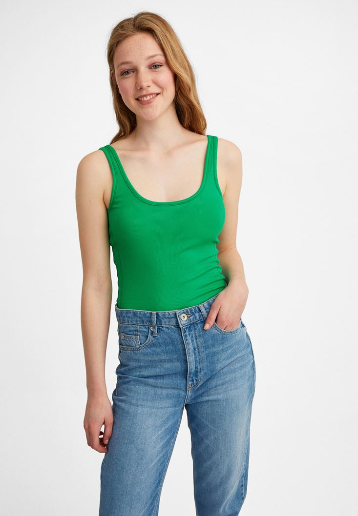 Green U-Neck Tank Top