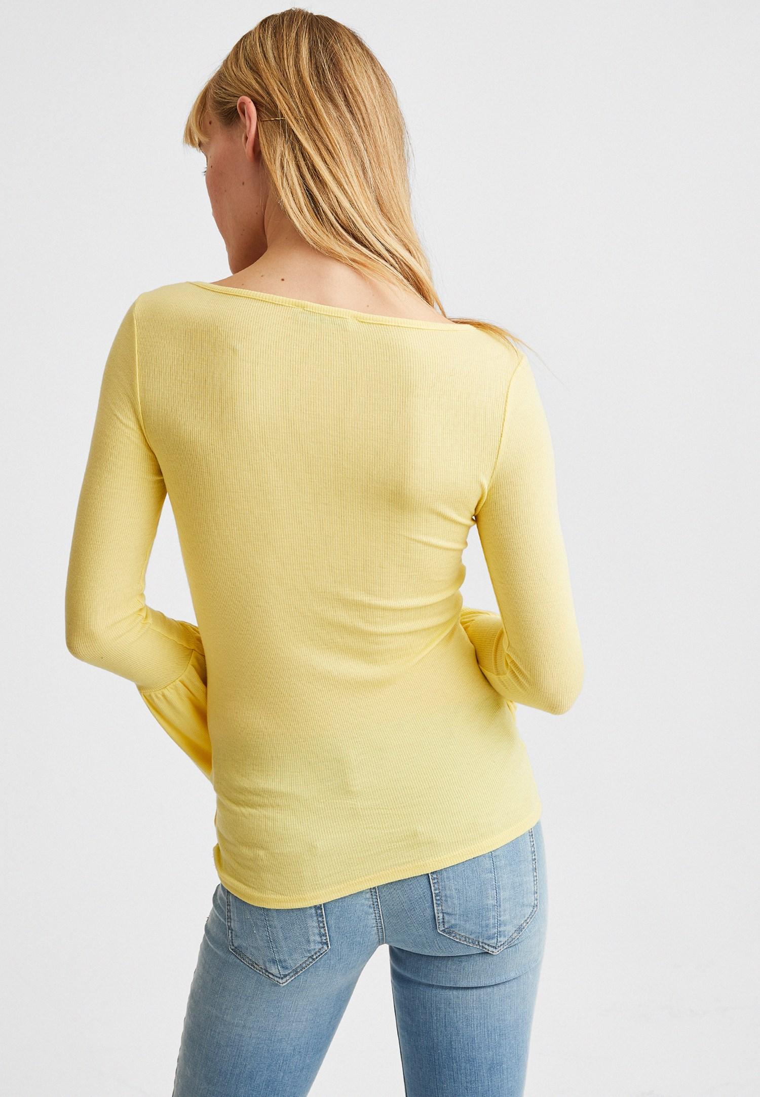 Bayan Sarı Flare Kollu V Yaka Tişört