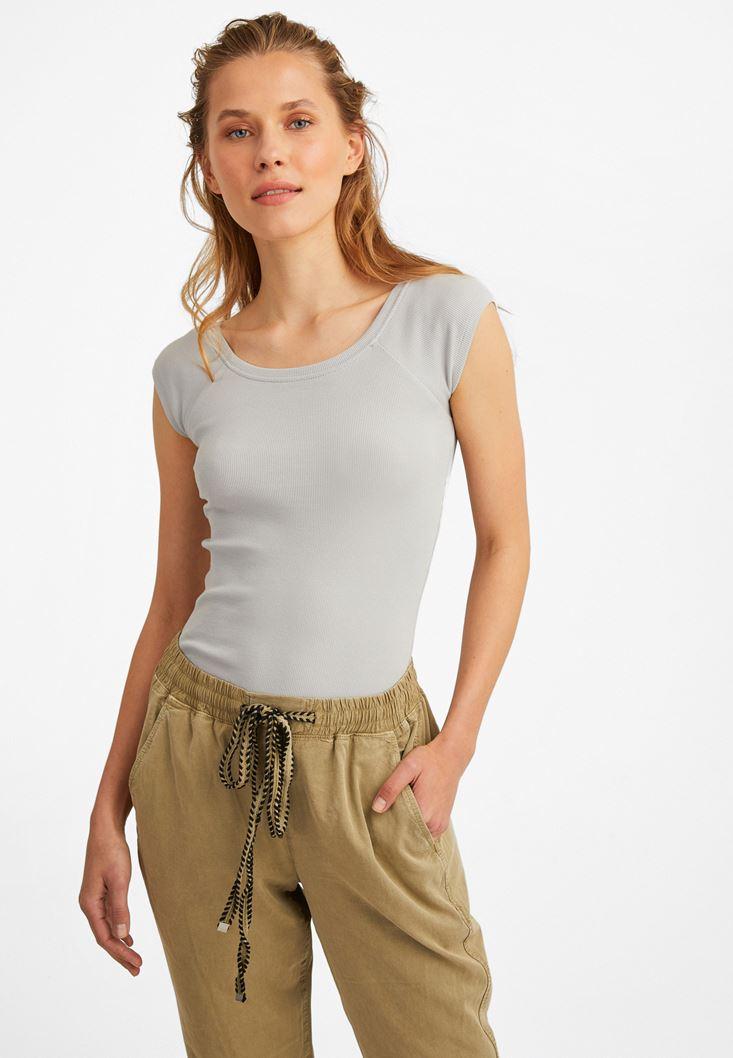 Gri Yarım Kollu Basic Tişört