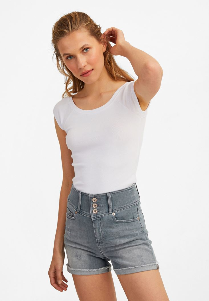 Beyaz Yarım Kollu Basic Tişört