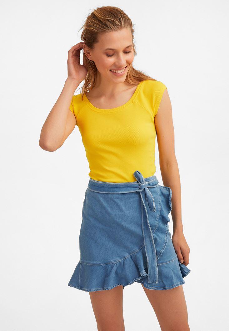 Sarı Yarım Kollu Basic Tişört