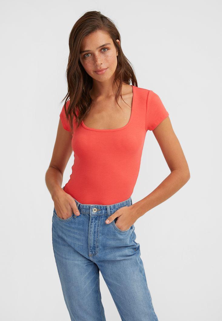 Orange U-Neck T-Shirt