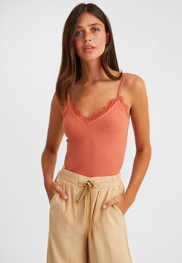 Orange V Neck Tank Top with Lace
