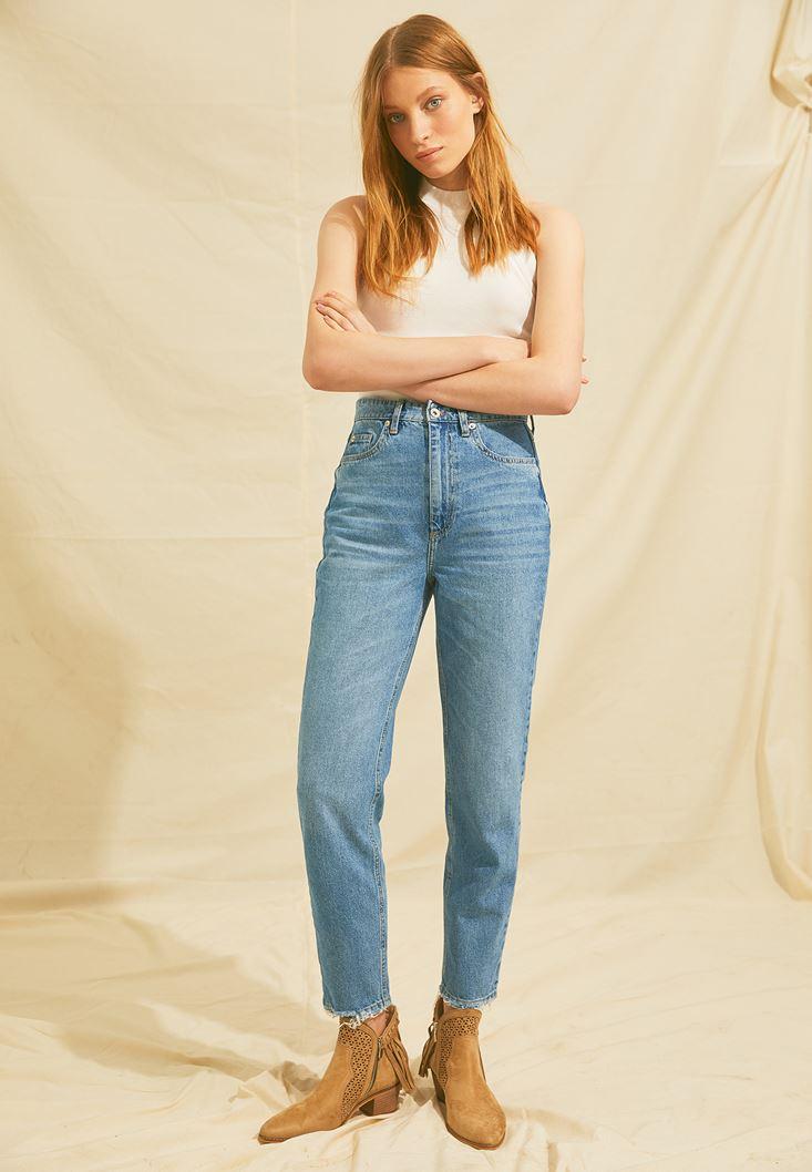 Mavi Yüksek Bel Mom Jeans