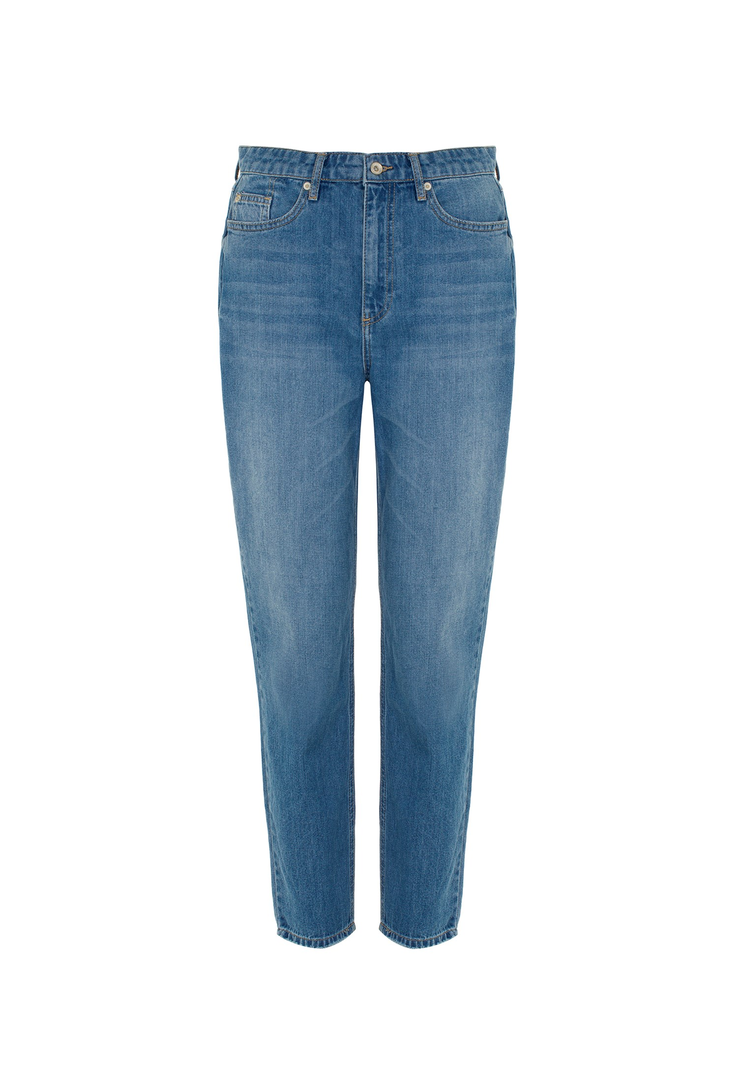 Women Blue Ultra High Rise Mom Jeans