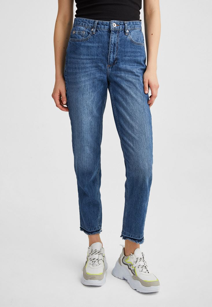 Blue Ultra High Rise Mom Jeans