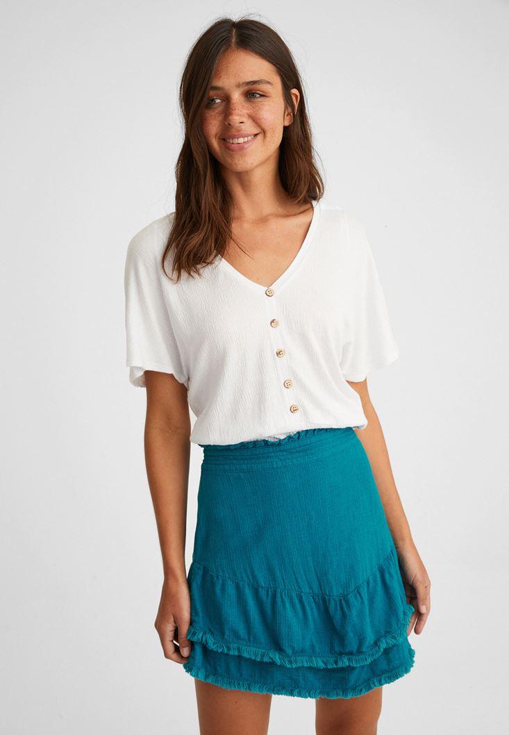 Blue Mini Skirt with Fringes