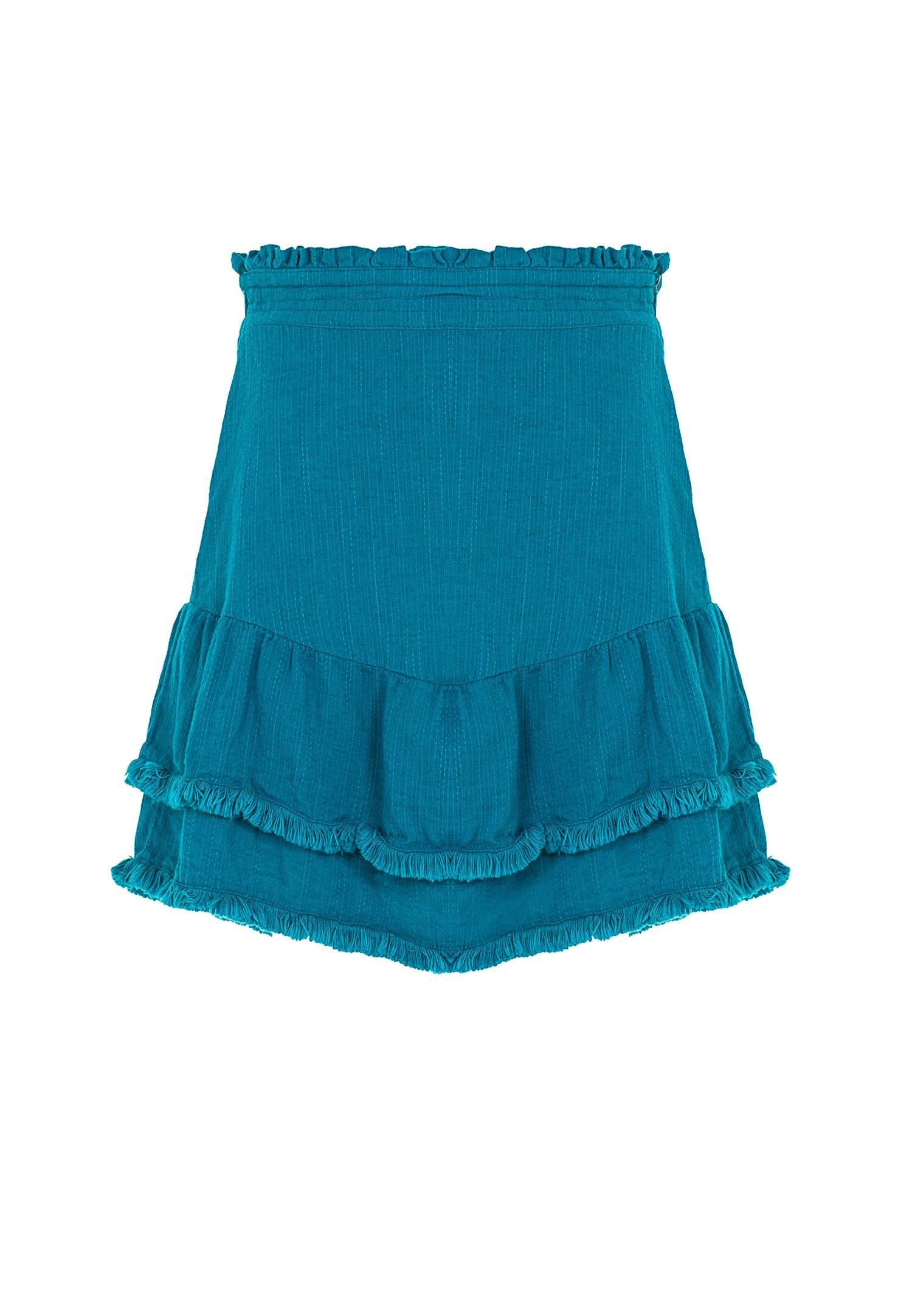 Bayan Mavi Püskül Detaylı Mini Etek