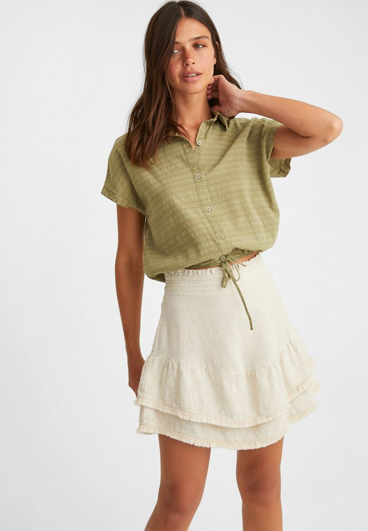 Cream Mini Skirt with Fringes