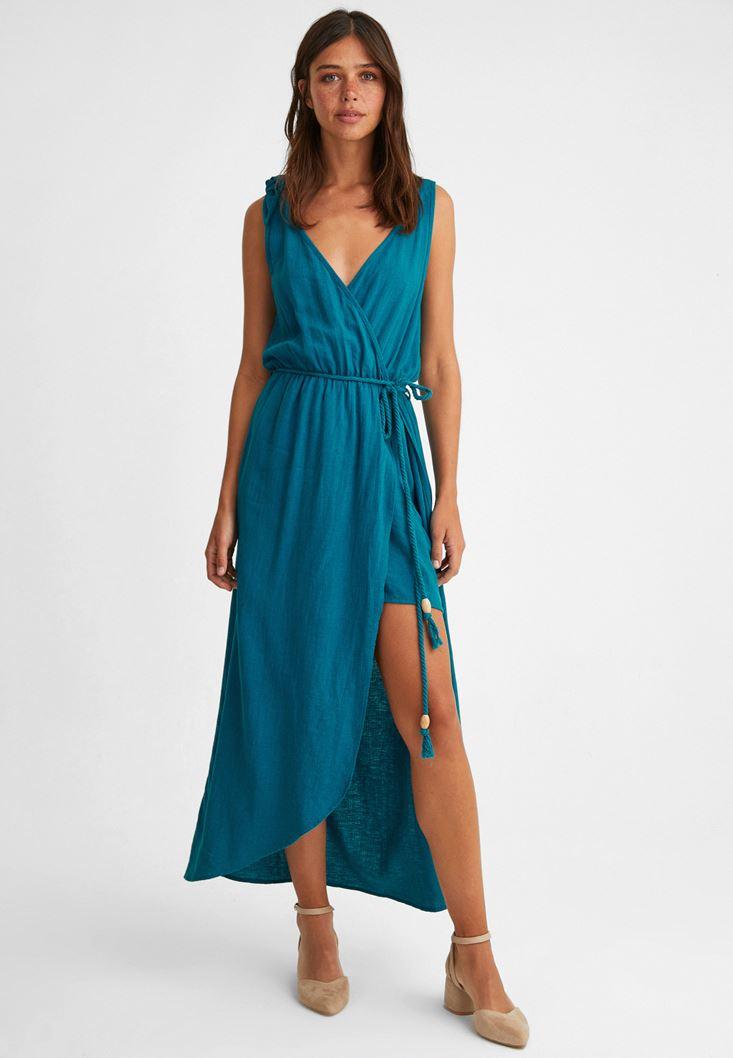 Mavi Bağlama Detaylı Şort Elbise