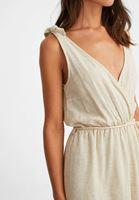 Bayan Krem Bağlama Detaylı Şort Elbise