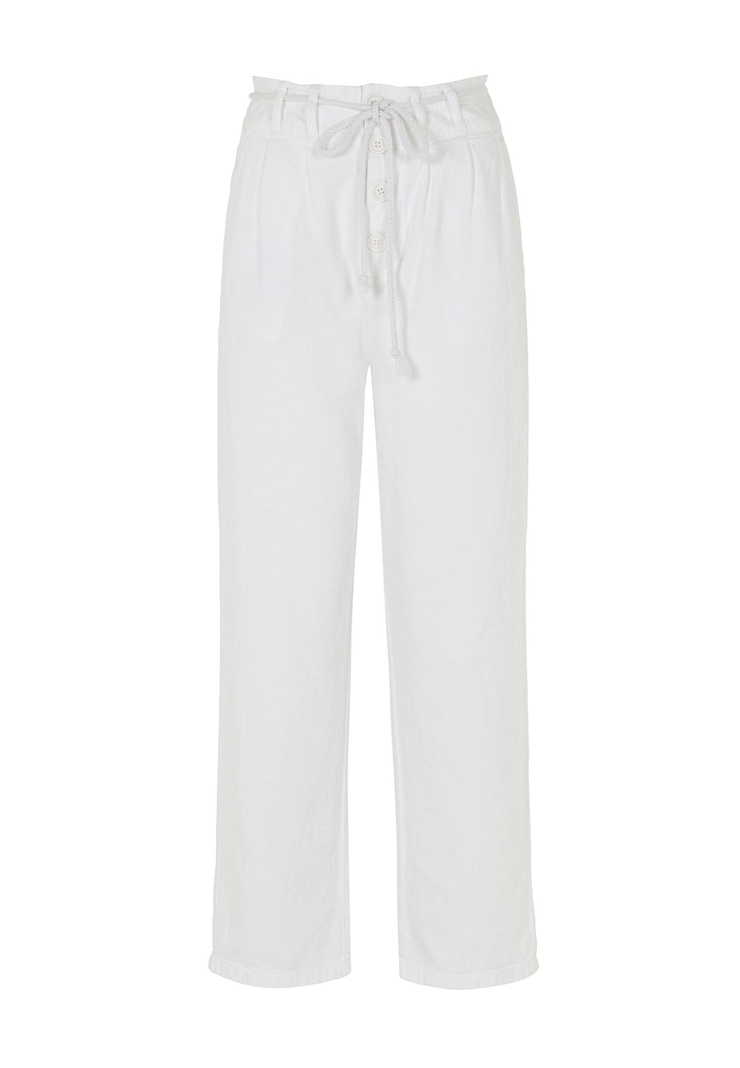 Bayan Beyaz Düğme Ve Kemer Detaylı Pantolon
