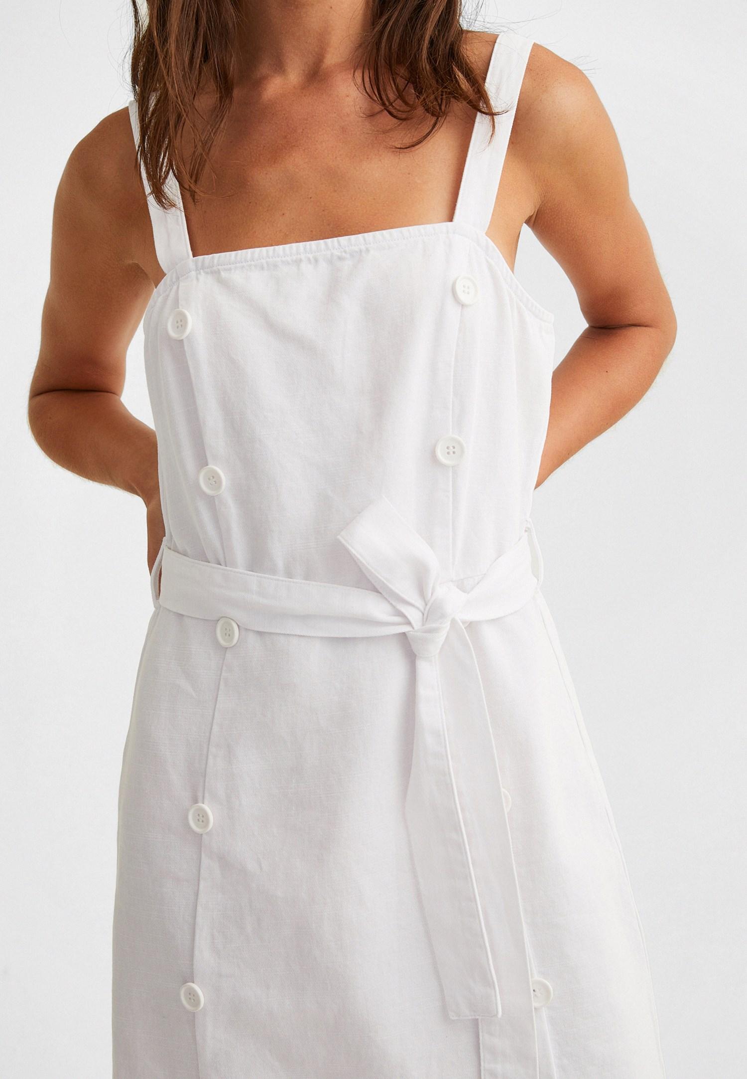 Bayan Beyaz Düğme Detaylı Mini Elbise