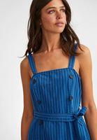 Bayan Mavi Düğme Detaylı Çizgili Elbise