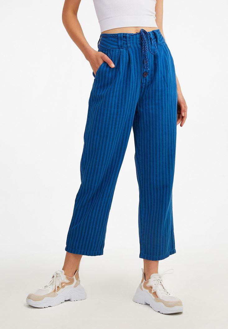 Mavi Düğme Detaylı Çizgili Pantolon