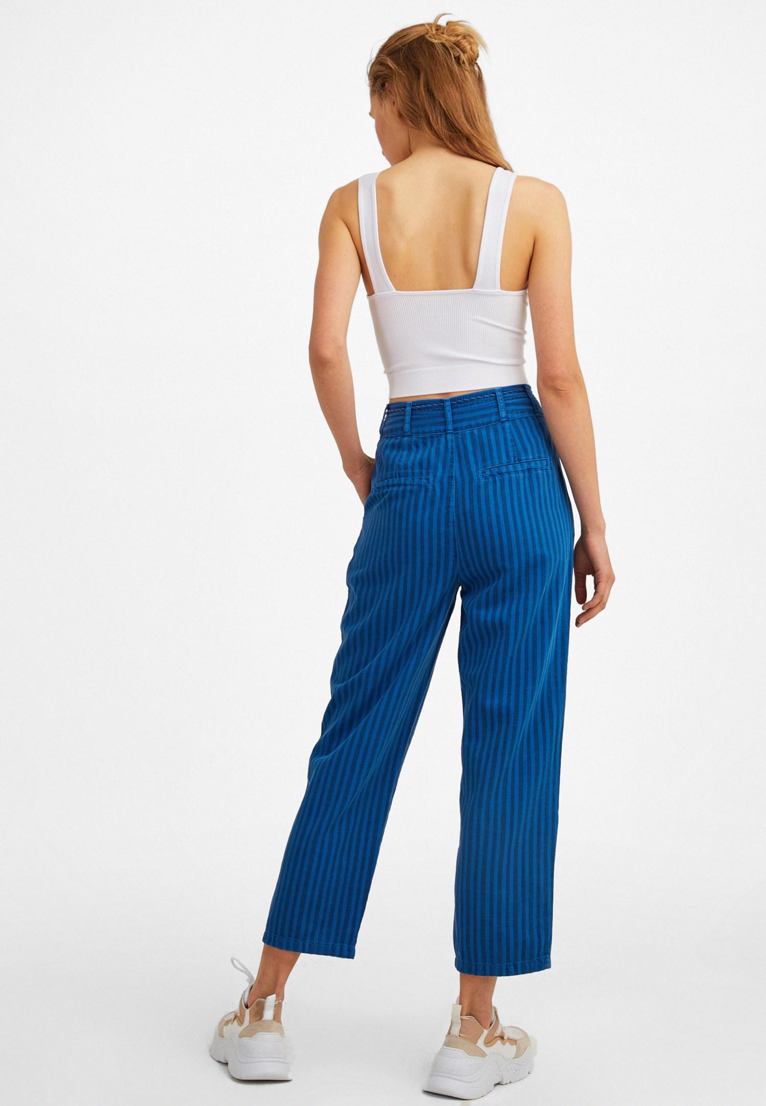 Bayan Mavi Düğme Detaylı Çizgili Pantolon