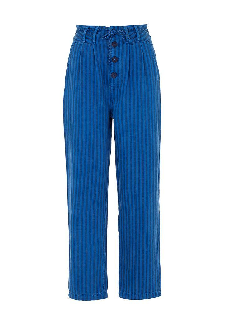 Düğme Detaylı Çizgili Pantolon