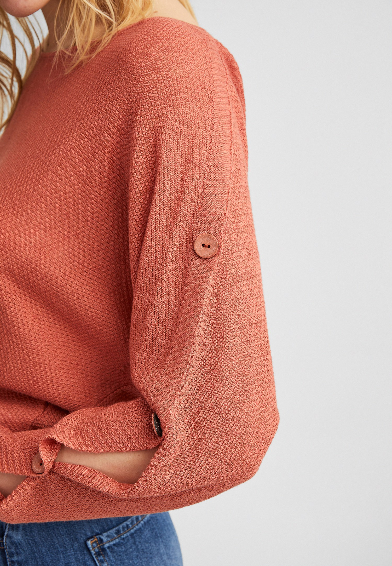 Bayan Turuncu Kolları Düğme Detaylı Bluz