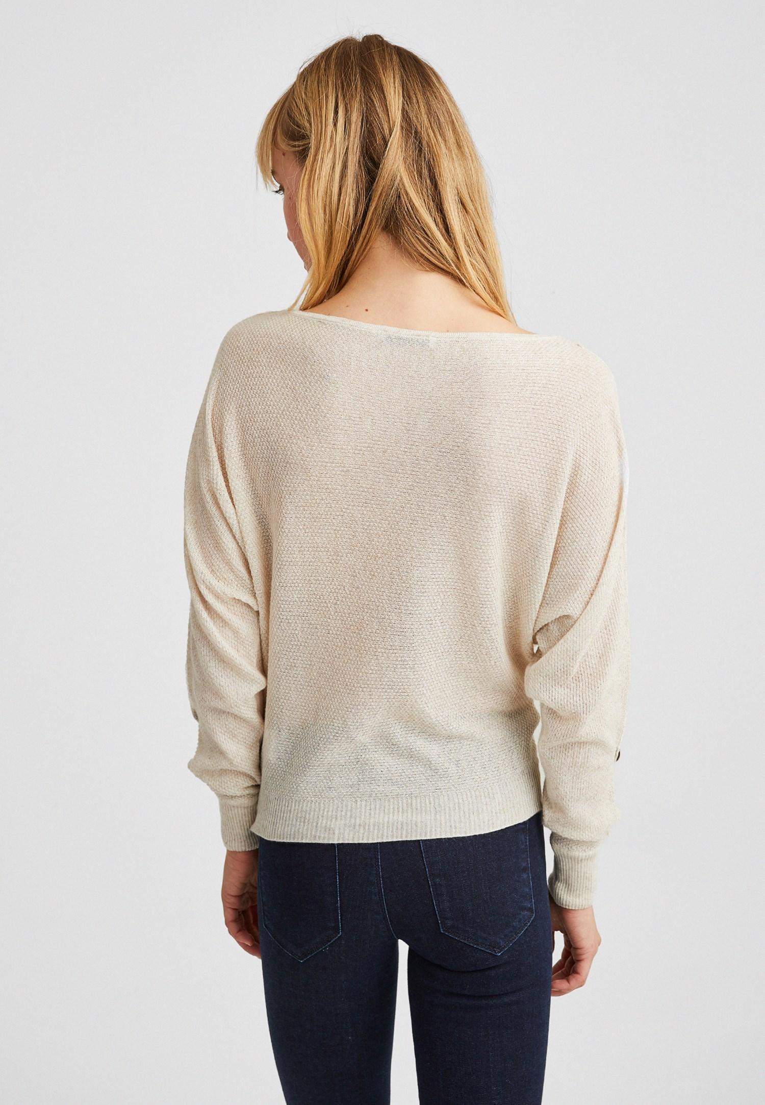 Bayan Krem Kolları Düğme Detaylı Bluz
